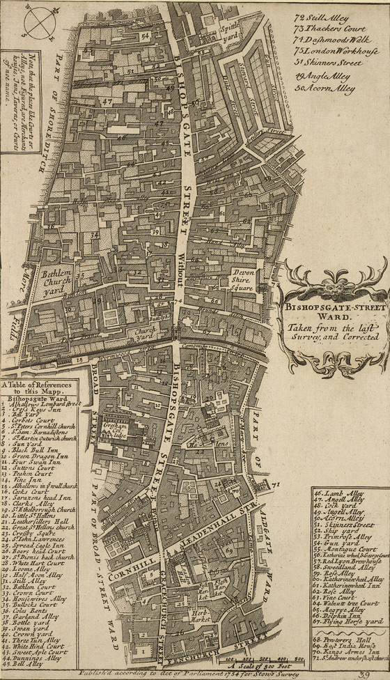 Bishopsgate-street ward. Taken from the last survey and corrected (1754)